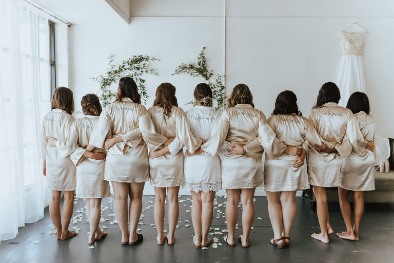 Florida Bride and Bridesmaids Getting Ready Wedding Portrait, Bridesmaids in Champagne Silk Robes