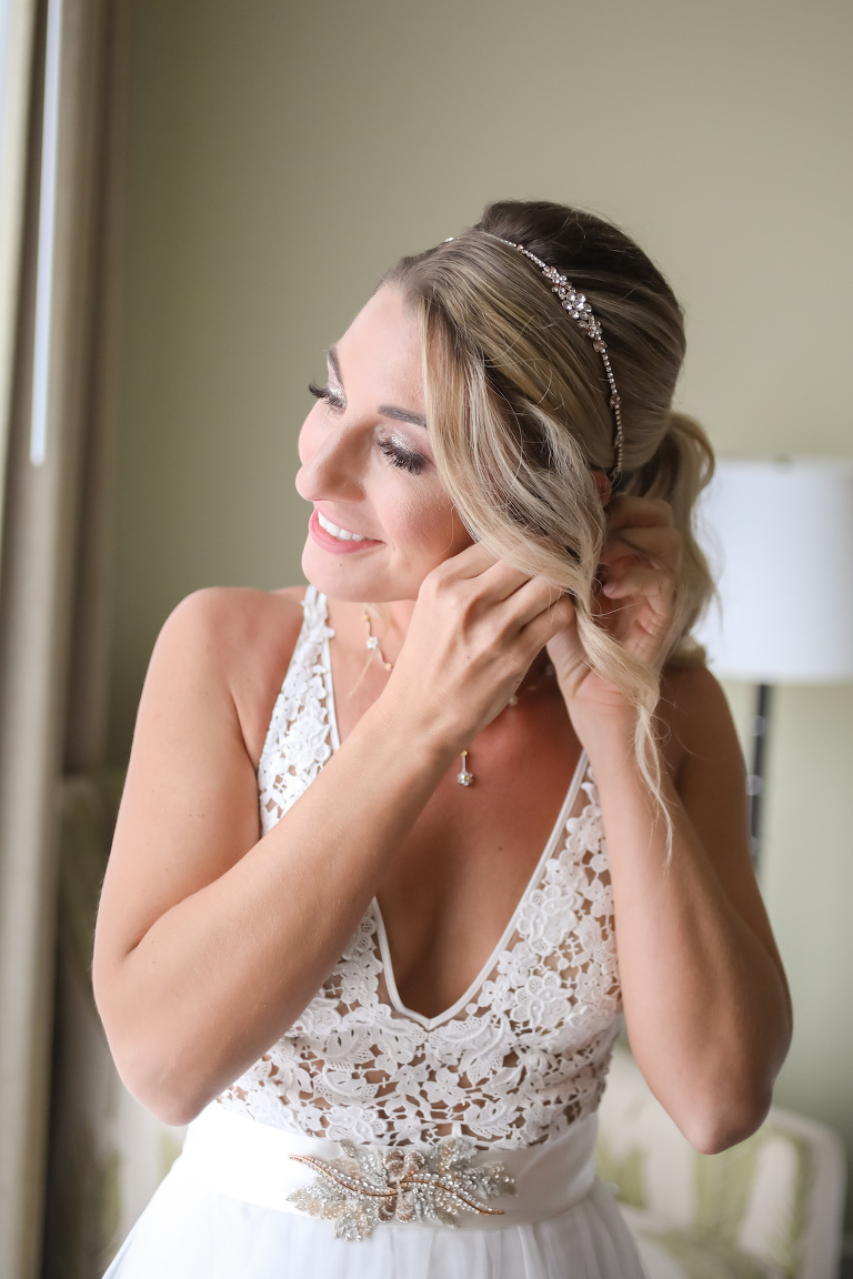 Florida Bride Getting Ready Wedding Portrait | Tampa Bay Wedding Photographer Lifelong Photography Studios