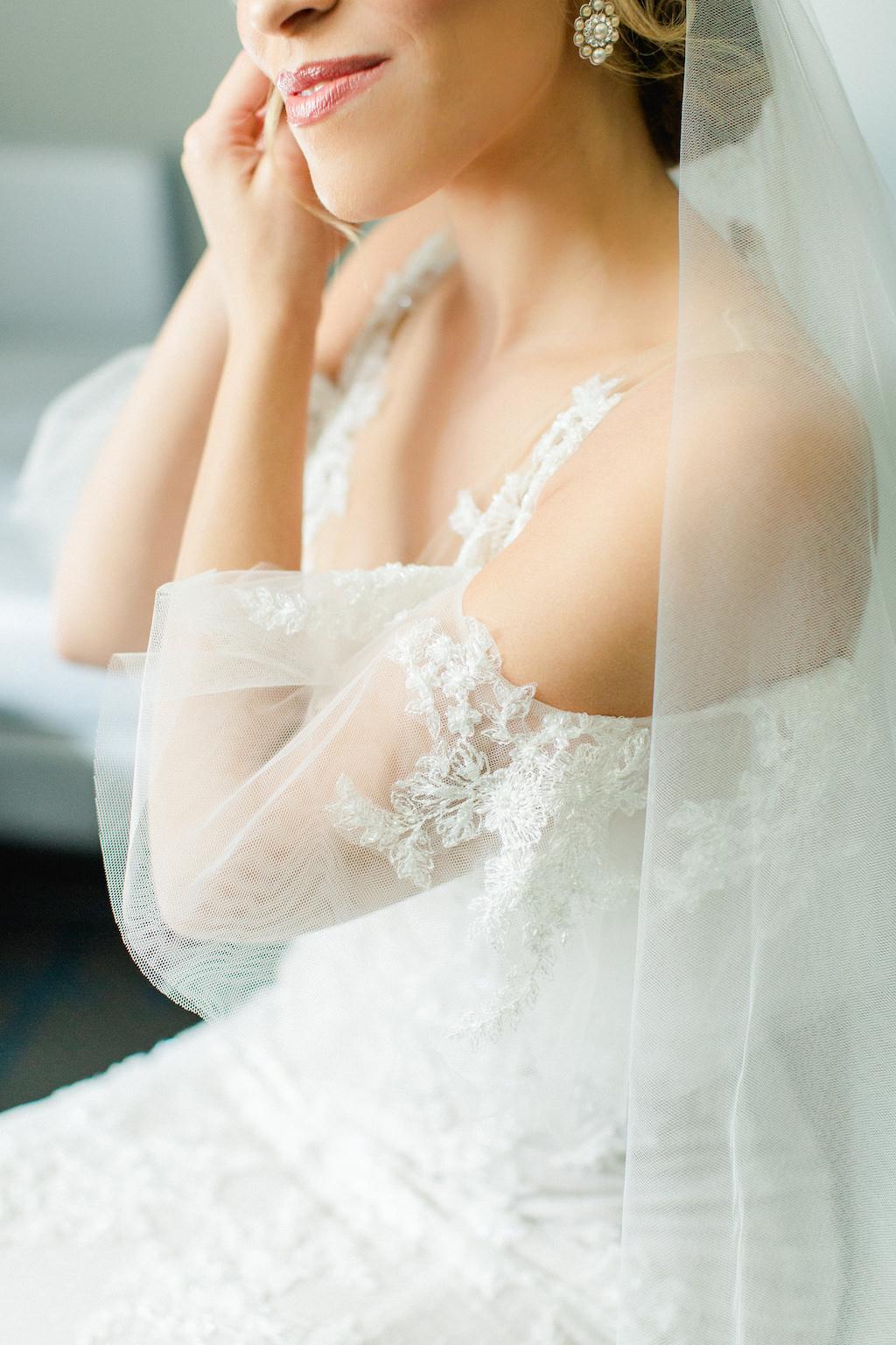 Tampa Bay Bride Getting Ready Wedding Portrait, Putting on Earrings