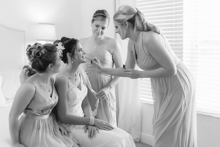 Florida Bride Getting Ready Wedding Portrait with Bridesmaids | Tampa Bay Wedding Dress Shop Truly Forever Bridal