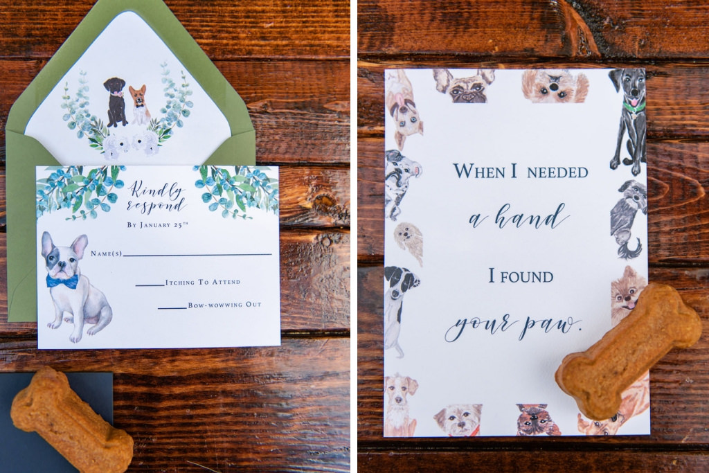 Dog Inspired Watercolor Sage Green, White and Navy Blue Wedding Invitation Suite | Tampa Bay Wedding Photographer Caroline and Evan Photography | Planner and Designer Southern Glam Weddings & Events