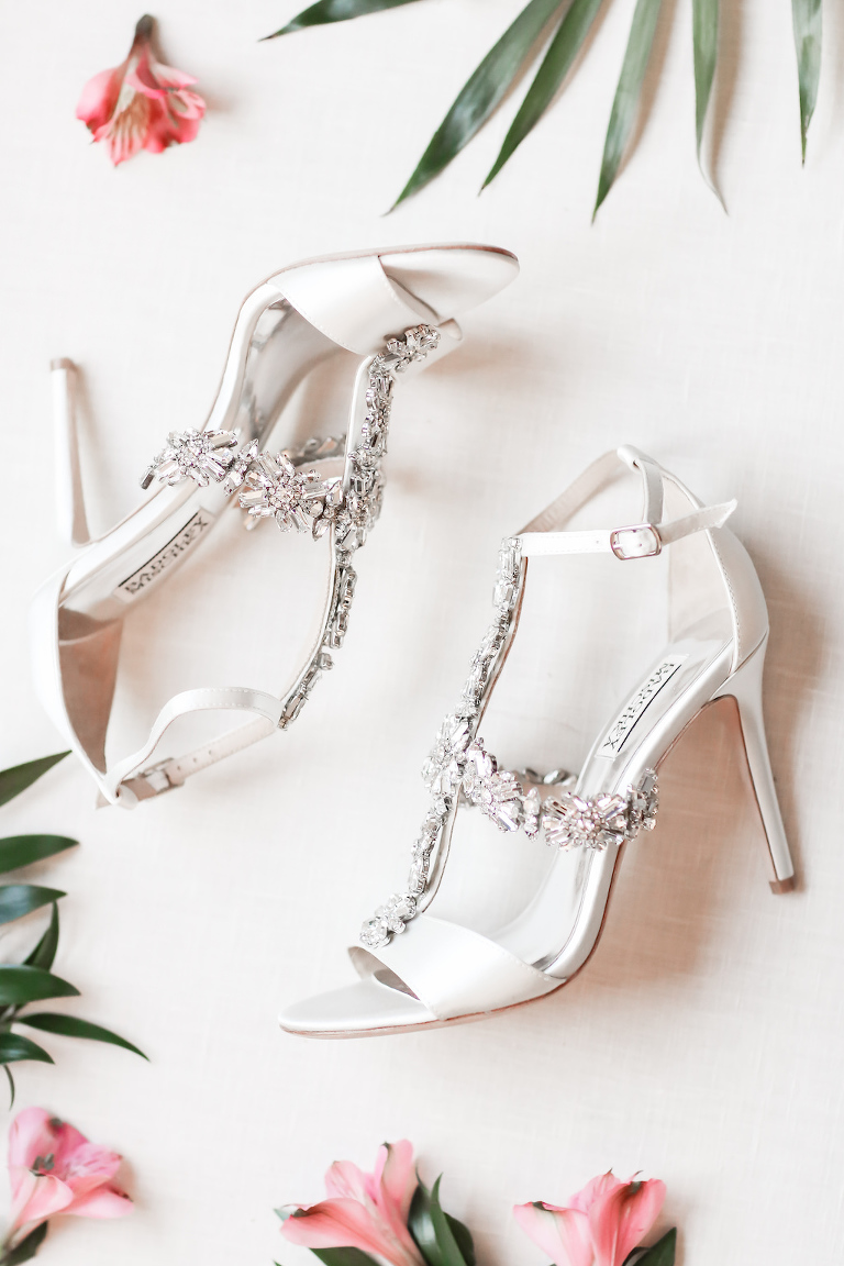 White Satin and Rhinestone Sandal Heel Badgley Mischka Wedding Shoe | Tampa Bay Wedding Photographer Lifelong Photography Studio