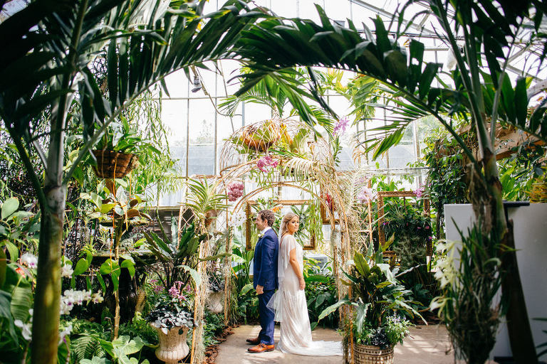 Florida Bride and Groom First Look Wedding Portrait in Garden | Sarasota Wedding Venue Marie Selby Botanical Gardens