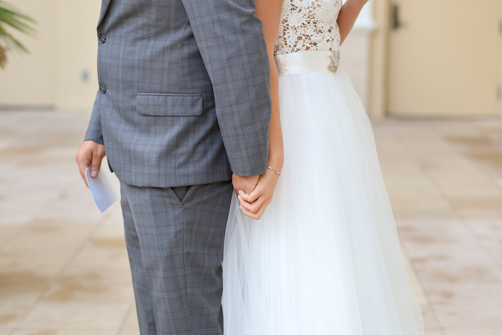 Closeup Portrait of Bride and Groom Holding Hands Before First Look   Tampa Bay Wedding Photographer Lifelong Photography Studios