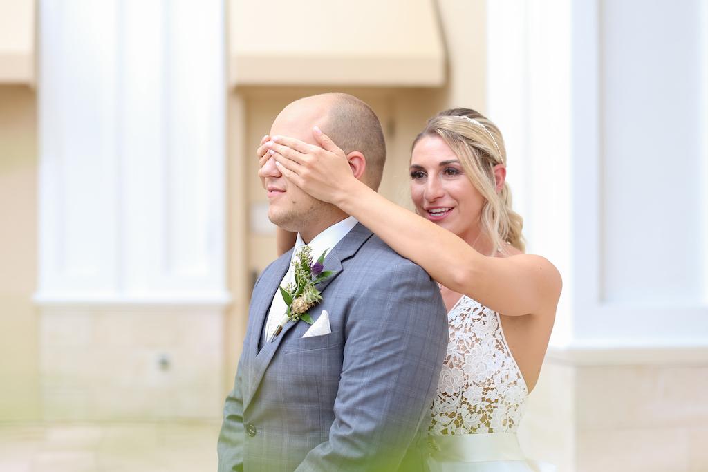Florida Bride and Groom First Look Wedding Portrait   Tampa Bay Wedding Photographer Lifelong Photography Studios