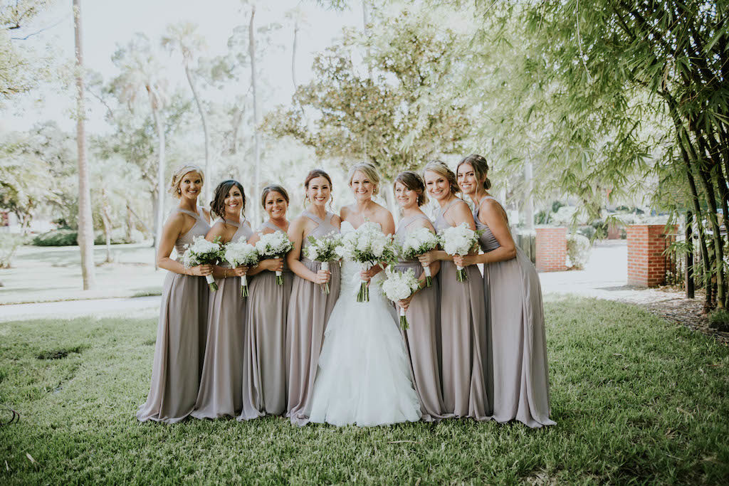 Florida Bride and Bridesmaids Outdoor Wedding Portrait, Bridesmaids in Matching Long Taupe Dresses and White Floral Bouquets