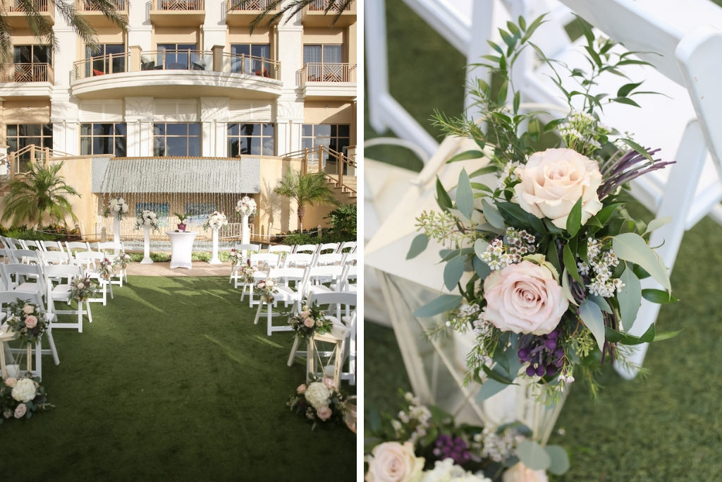 Outdoor Lawn Wedding Ceremony, White Folding Chairs, Ivory, Purple and Greenery Flower Decor   Tampa Bay Wedding Photographer Lifelong Photography Studios   Clearwater Beach Wedding Hotel Venue Sandpearl Resort   Wedding Planner Special Events Planning