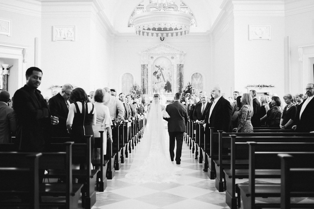 Traditional Church Wedding Ceremony Portrait, Bride Walking Down the Aisle | The Chapel of the Holy Cross (Jesuit High School)