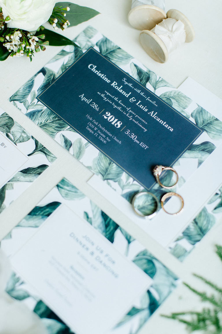 Tropical Floral Inspired Blue, Green and White Wedding Invitation Suite with Bride and Groom Wedding Rings