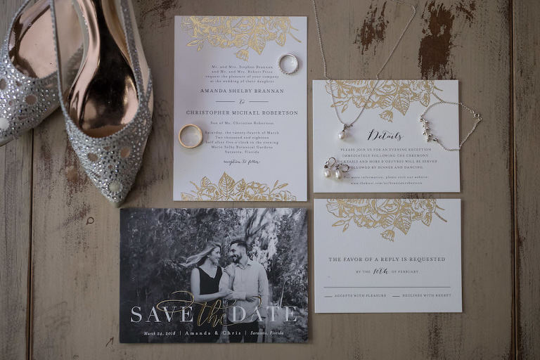Modern Classic Gold Foil and White Wedding Invitation Suite, Wedding Portrait Save the Date