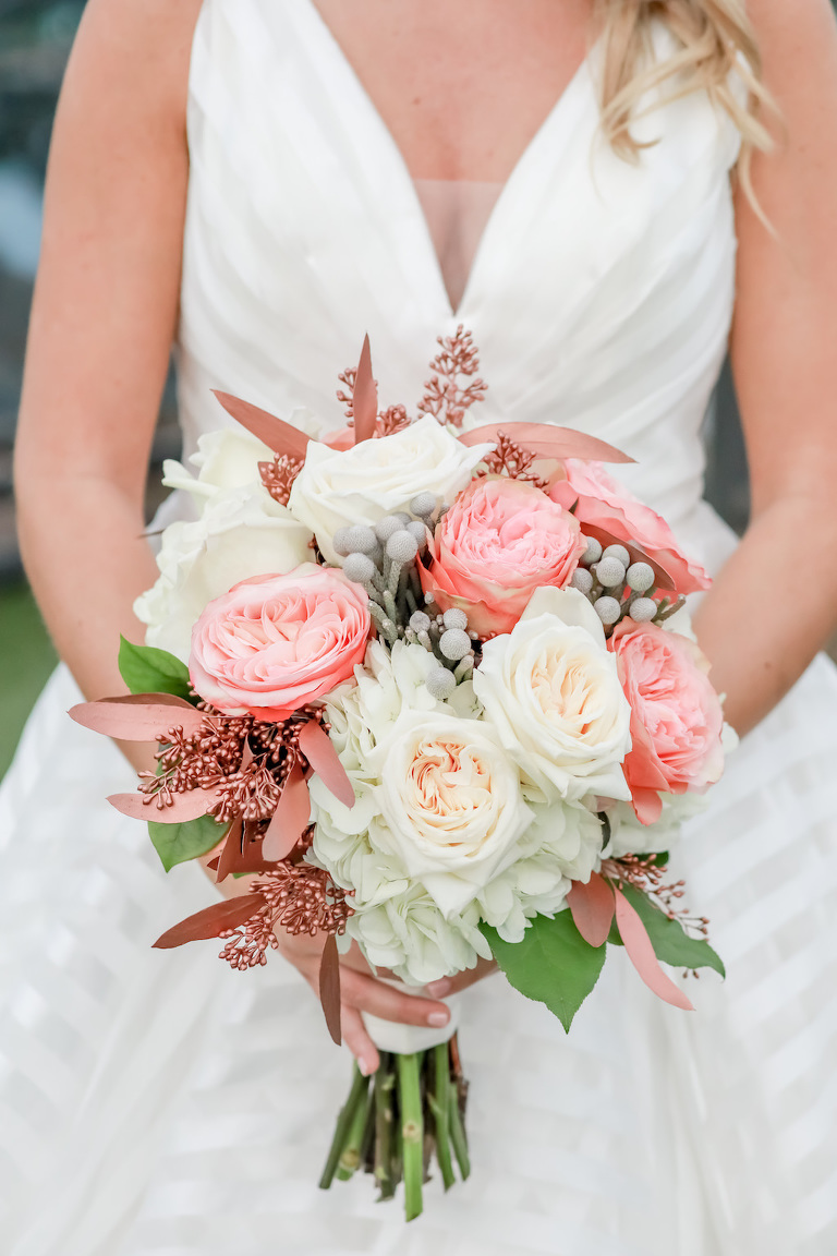 Bride Wedding Portrait with White, Ivory, Pink, and Berry Floral Wedding Bouquet | Tampa Bay Wedding Photographer Lifelong Photography Studios