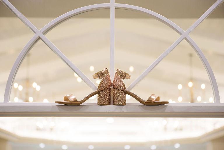 Rose Gold Sparkle Block Heel Strappy Wedding Heel Shoes