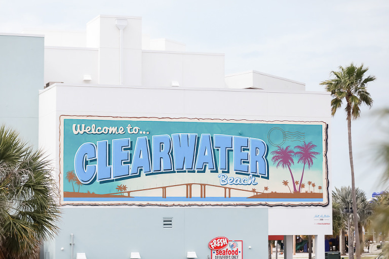 Clearwater Beach Art Mural Welcome Sign | Wedding Photographer Lifelong Photography Studios