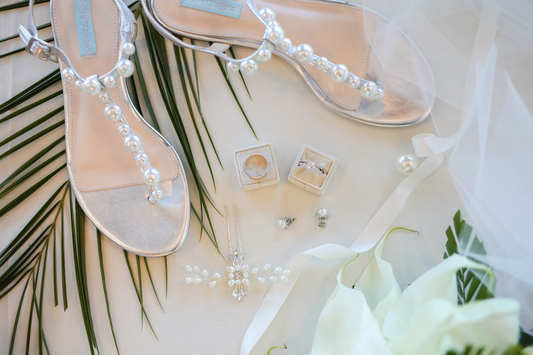 Silver and Pearl Strap Sandal Wedding Shoes, Bride Engagement Ring and Wedding Ring in Velvet Ring Box, Pearl Hair Accessory | St. Pete Wedding Photographer LifeLong Photography Studios