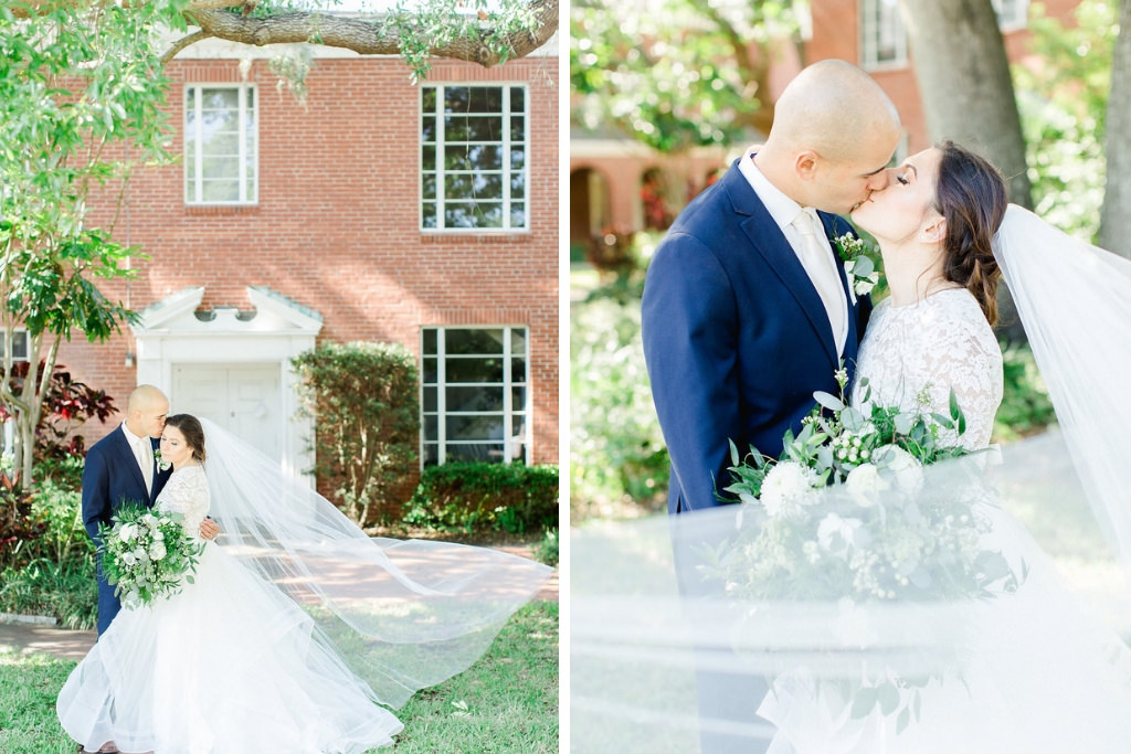Tampa Bay Bride and Groom Outdoor Wedding Portrait, Veil Blowing in the Wind