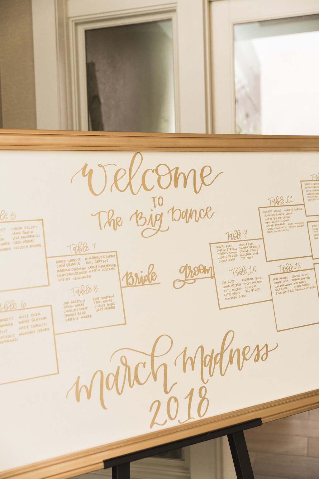 Gold and White Wedding Reception Seating Chart | Gold Wedding Sign | Basketball March Madness Seating Chart and Sign