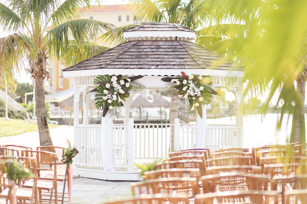 Florida Beach Elegant Inspired Wedding Ceremony Decor, Outdoor Beach Wedding Ceremony at Gazebo with Colorful Tropical Floral Bouquets | Waterfront St. Petersburg Venue Isla Del Sol Yacht and Country Club | Photographer LifeLong Photography Studios