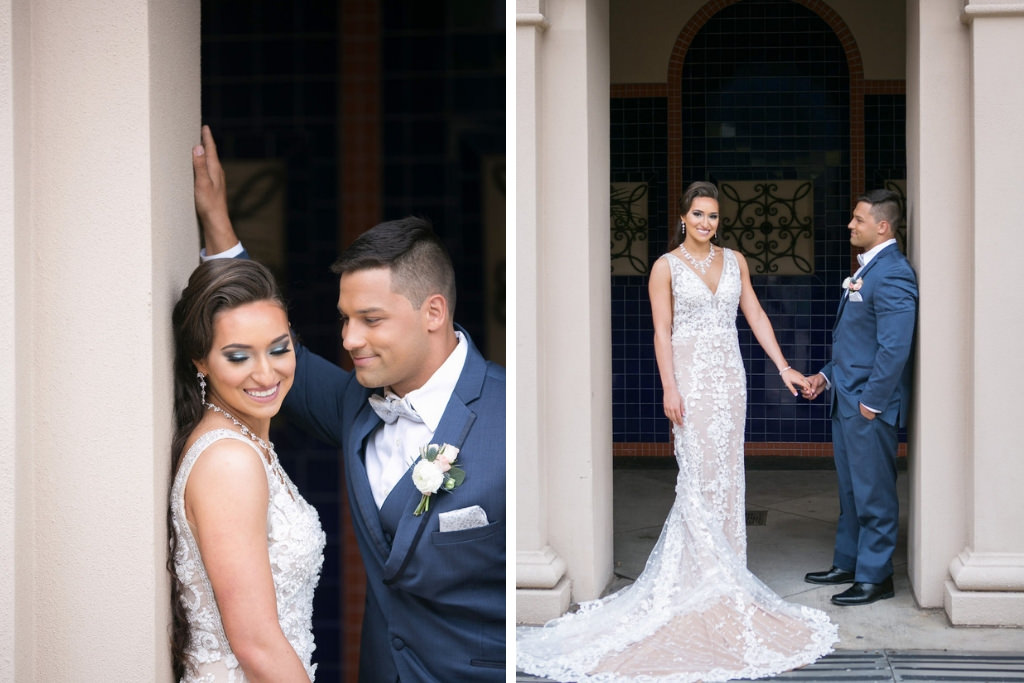 Florida Bride and Groom Wedding Portrait | Tampa Bay Photographer Carrie Wildes Photography | Hair and Makeup Destiny and Light Hair and Makeup Group | Wedding Attire Nikki's Glitz and Glam Boutique