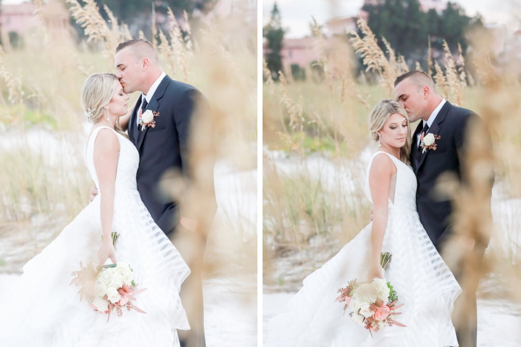 Beachfront Intimate St. Pete Beach Bride and Groom Wedding Portrait | Tampa Bay Wedding Photographer Lifelong Photography Studios | Wedding Dress Shop Truly Forever Bridal