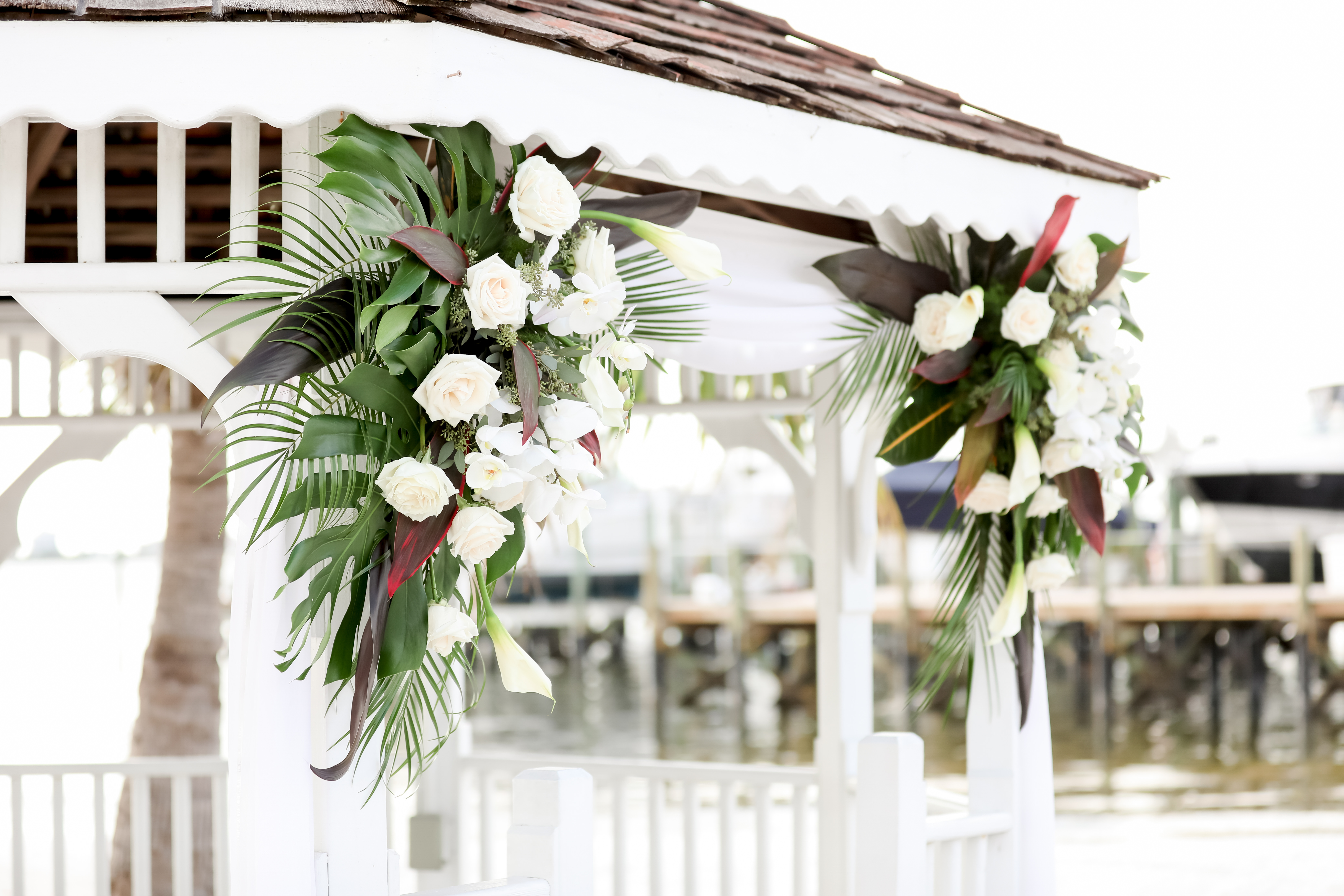 Beach Elegant Inspired Wedding Ceremony Decor, Outdoor Beach Wedding Ceremony at Gazebo with Colorful Tropical Floral Bouquets | Waterfront St. Petersburg Venue Isla Del Sol Yacht and Country Club | Photographer LifeLong Photography Studios