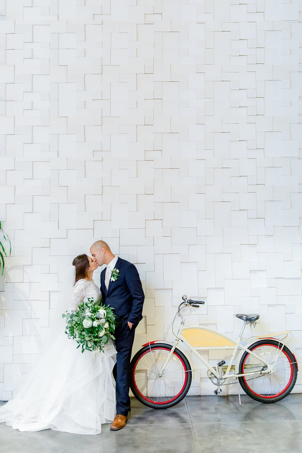 Tampa Bay Bride and Groom Wedding Portrait with Bicycle | South Tampa Boutique Wedding Venue the Epicurean Hotel