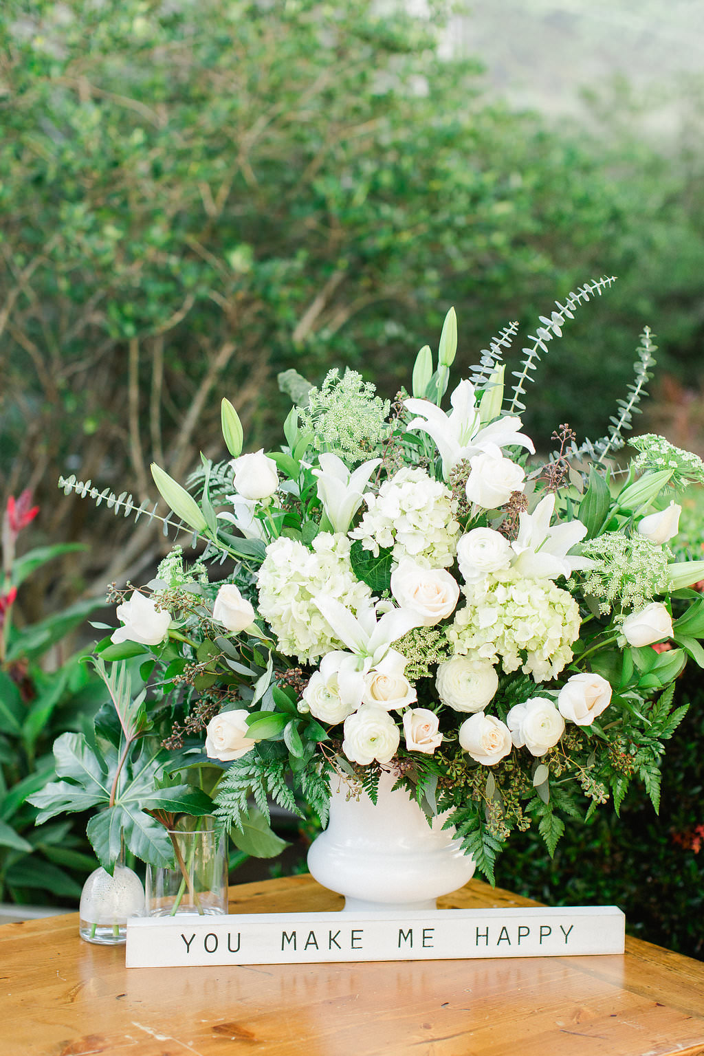 Classic, Organic Garden Floral Wedding Decor, White, Ivory and Greenery Floral Bouquet in White Vase, White Wooden Quote Sign