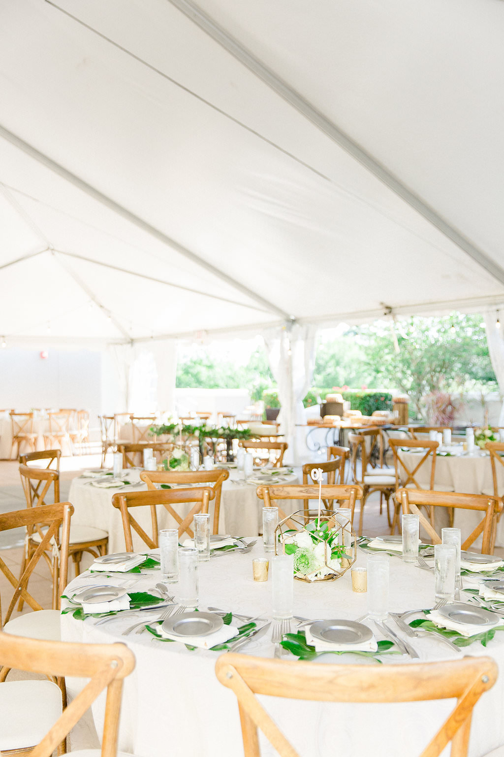Classic, Organic Earthy Garden Wedding Reception Decor, Round Tables with White Tablecloths, Wooden Chiavari Chairs, Low Geometric Gold Vase Centerpiece | Tampa Bay Wedding Hotel Venue Epicurean Hotel
