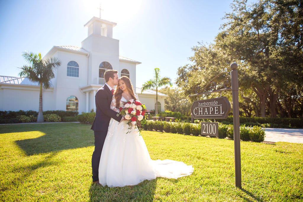 Florida Bride and Groom Outdoor Wedding Portrait | Safety Harbor Wedding Ceremony Venue Harborside Chapel | Wedding Dress Shop Truly Forever Bridal | Hair and Makeup Destiny and Light Hair and Makeup Group