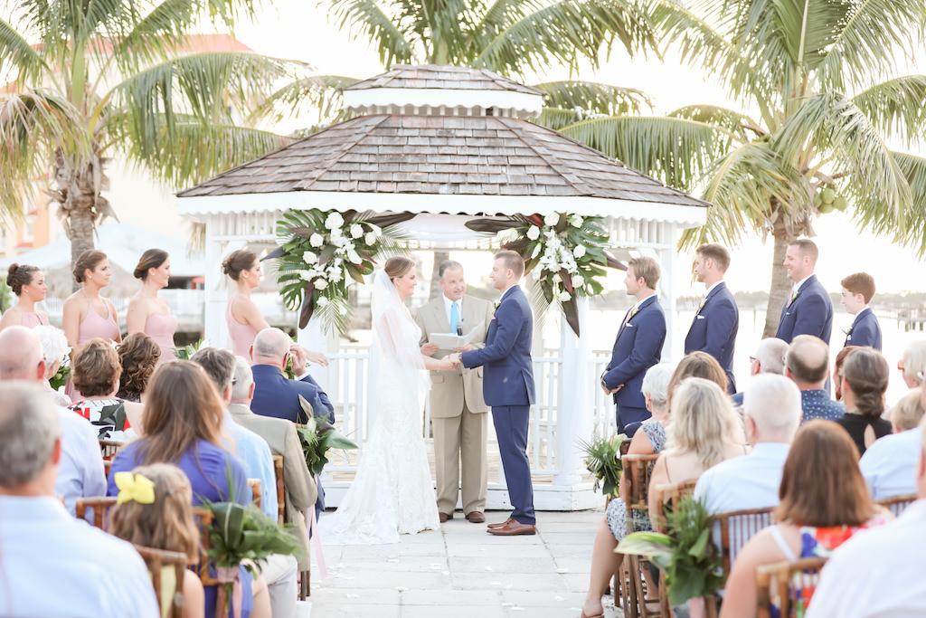 Florida Bride and Groom Beach Elegant Wedding Ceremony Portrait at Waterfront Gazebo | Photographer LifeLong Photography Studios | St. Pete Beach Wedding Venue Isla Del Sol Yacht and Country Club