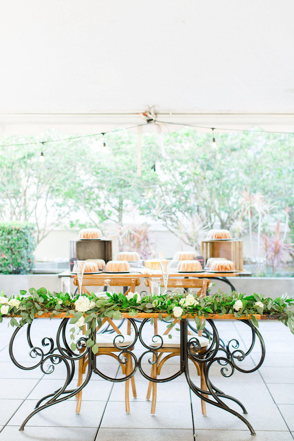 Classic, Organic Earthy Wedding Reception Decor, Unique Black and Wood Sweetheart Table, Wooden Chiavari Chairs and Dessert Table with Bundt Cakes | Tampa Bay Hotel Wedding Venue Epicurean Hotel