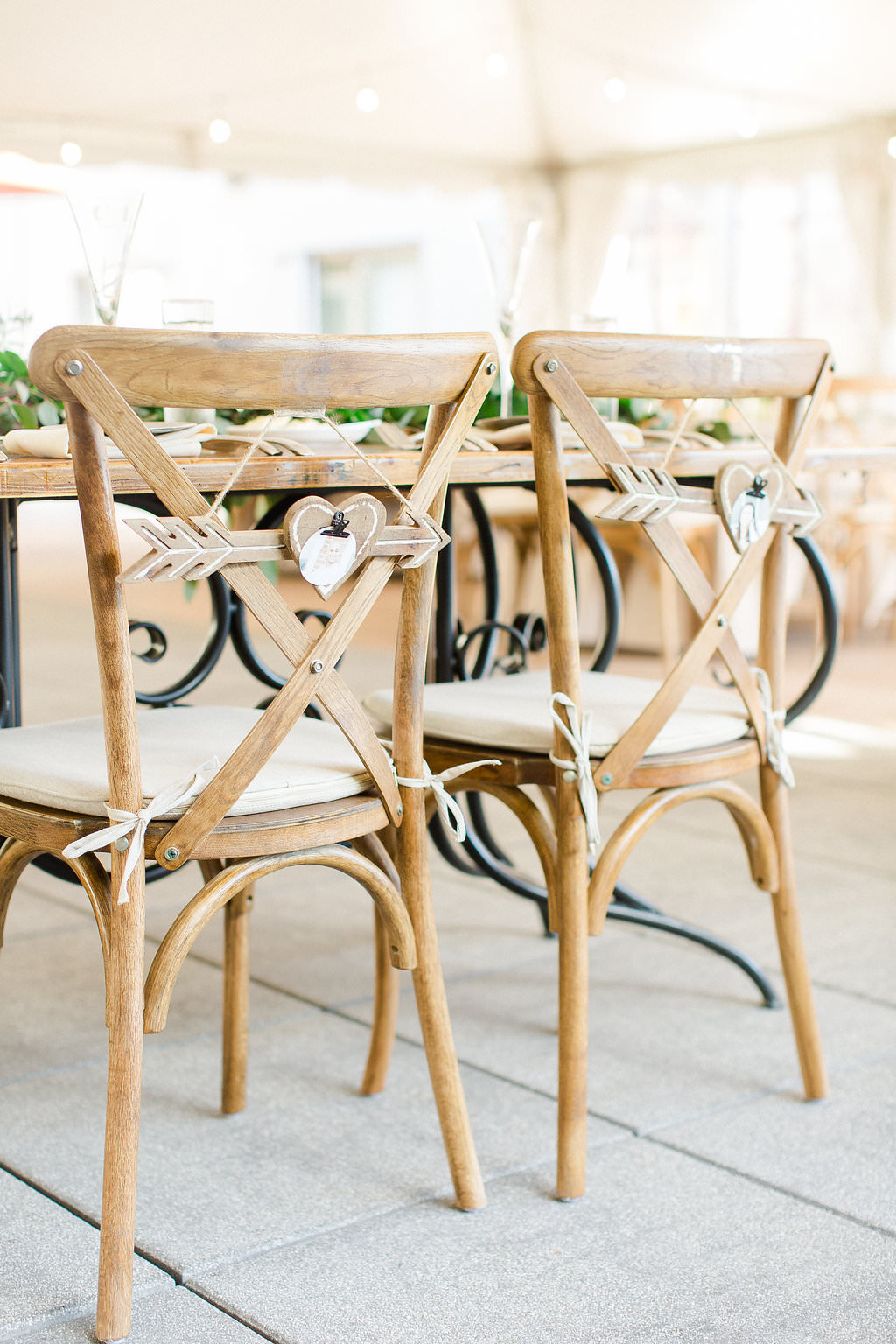 Classic, Organic Earthy Wedding Reception Decor, Unique Black and Wood Sweetheart Table, Wooden Chiavari Chairs with Wooden Arrow and Heart Laser Cut Signs Hanging Off Chairs