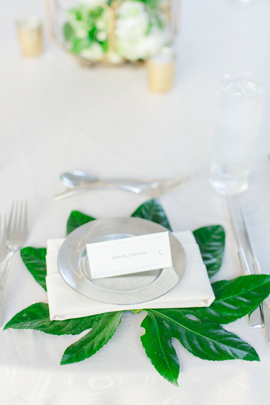 Classic, Earthy Organic Garden Wedding Reception Decor, Silver Charger, White Linen, Green Leaf and Traditional Seating Card