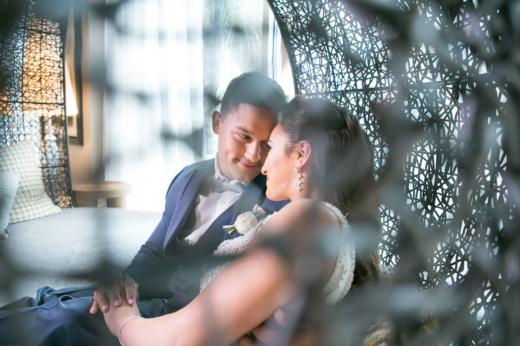 Florida Bride and Groom Wedding Portrait in Round Lounge Chair | Tampa Bay Photographer Carrie Wildes Photography | Hotel Wedding Venue Renaissance Tampa International Plaza
