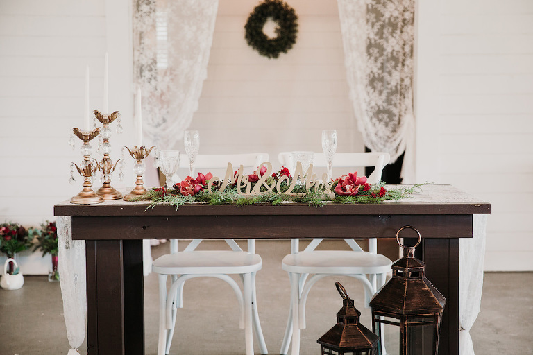 7556acce8e27 Romantic Christmas Inspired Wedding Decor at Rustic Tampa Bay Wedding,  Wooden Sweetheart Table, Lace