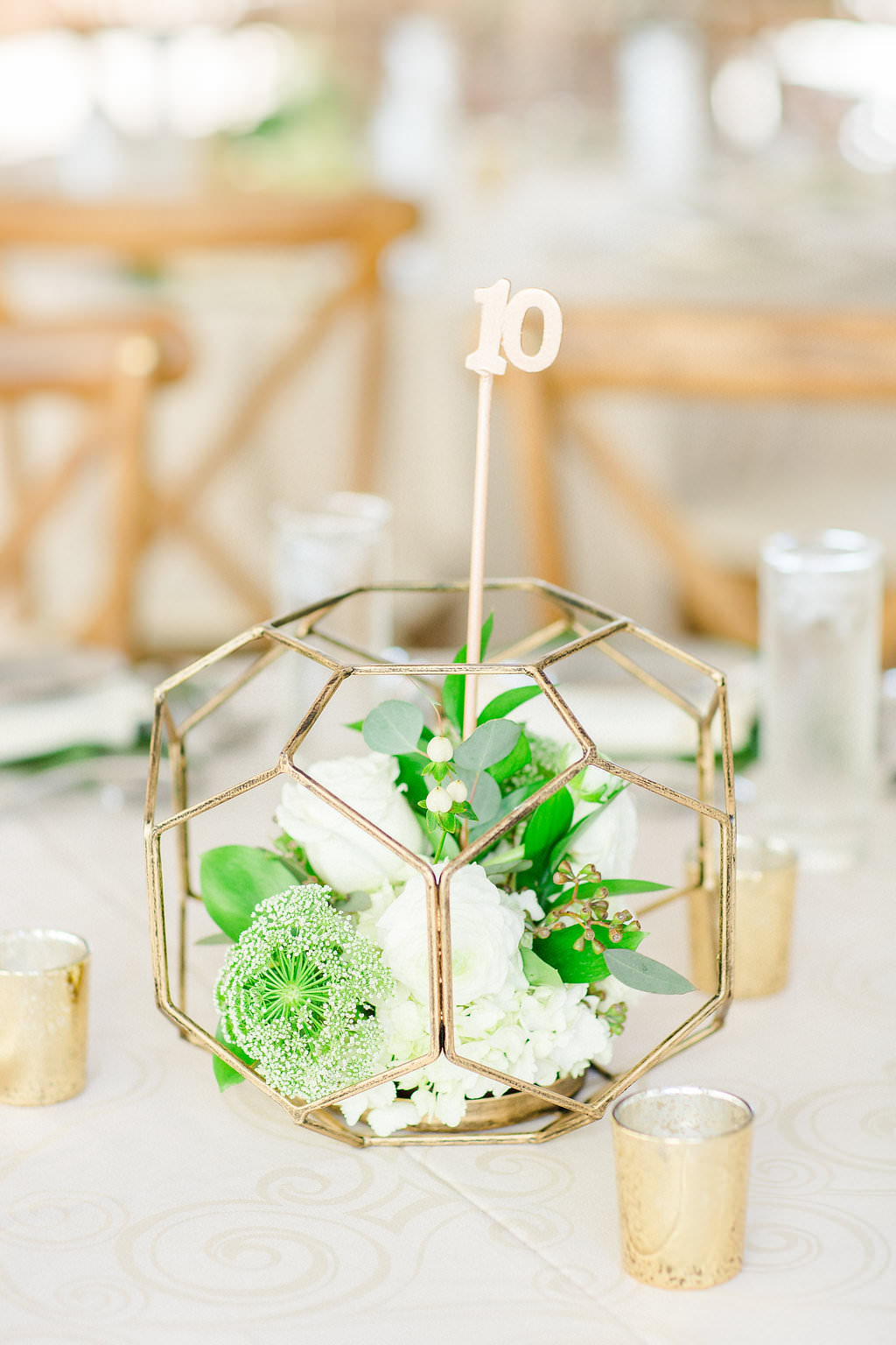 Classic, Earthy Organic Wedding Reception Decor, Low Gold Geometric Centerpiece with White and Greenery Florals, Gold Mercury Candle Votives