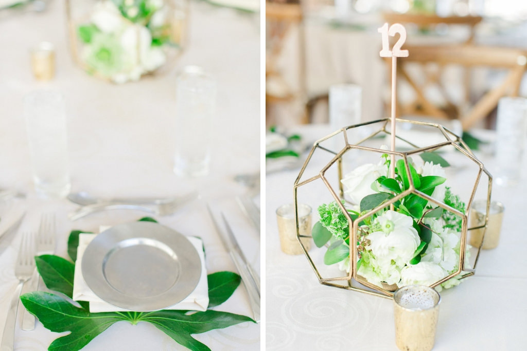 Classic, Earthy Organic Wedding Reception Decor, Silver Charger, White Linen, Green Leaf, Classic, Earthy Organic Wedding Reception Decor, Low Gold Geometric Centerpiece with White and Greenery Florals, Gold Mercury Candle Votives