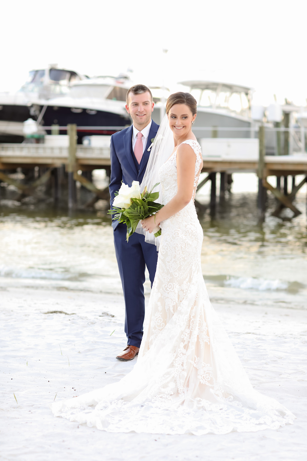 Waterfront Bride and Groom Wedding Portrait | Photographer LifeLong Photography Studios | St. Pete Beach Wedding Venue Isla Del Sol Yacht and Country Club