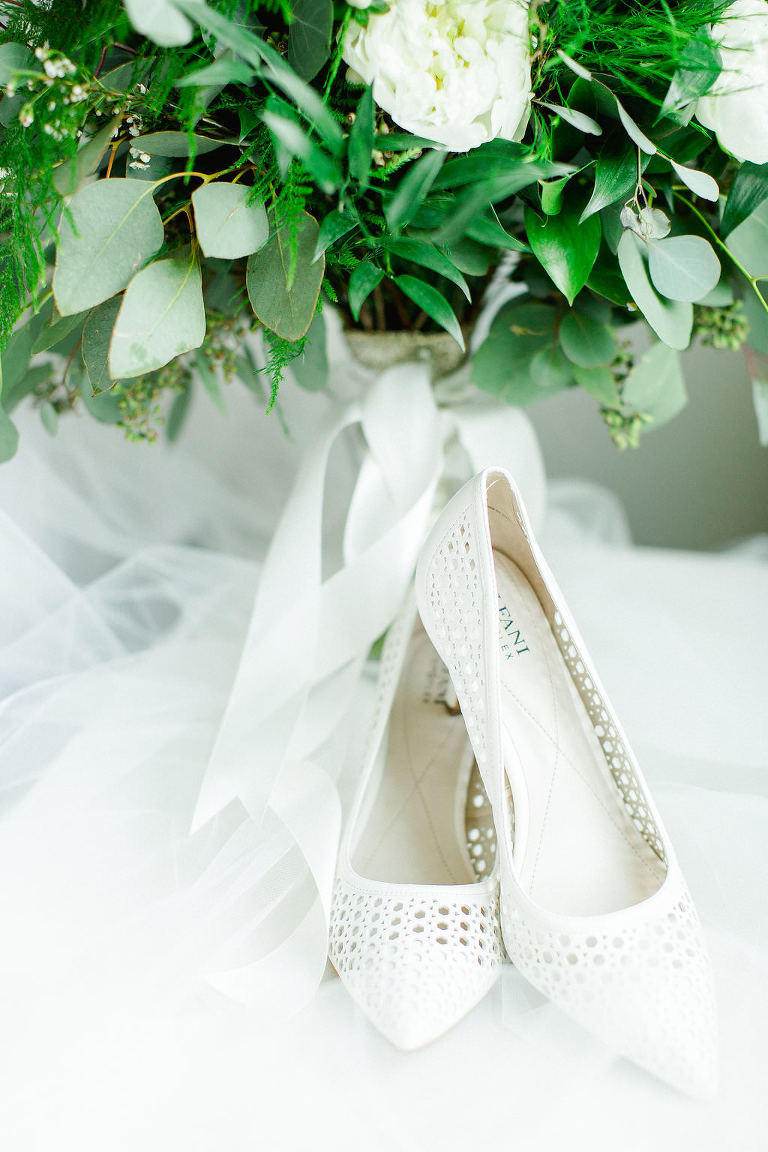 White Pointed Toe Wedding Shoes, White and Greenery Floral Bouquet