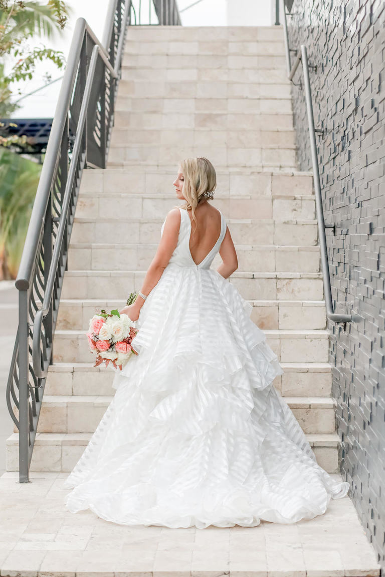 Florida Bride Wedding Portrait in Organza Striped with Horsehair Edging, Low Back with Thick Straps Morliee Ballgown Wedding Dress | Tampa Bay Wedding Photographer Lifelong Photography Studios | Dress Shop Truly Forever Bridal