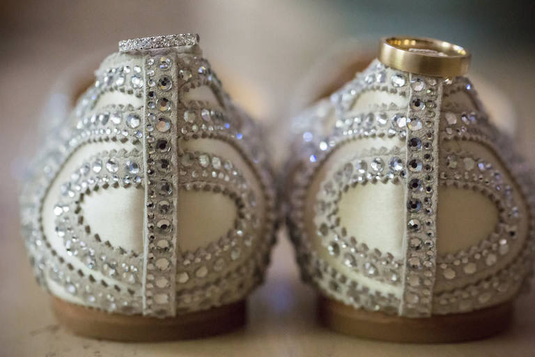 Rhinestone Ivory Flat Wedding Shoes and Bride and Groom Wedding Rings