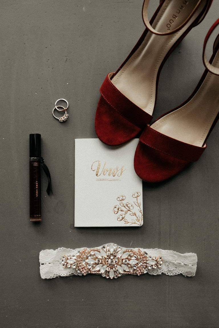 Bride Wedding Accessories, Red Velvet Strappy Sandal Heel Wedding Shoes, White and Gold Foil Vows Book, White Lace, Rose Gold and Rhinestone Brooch Garter, Wedding Rings