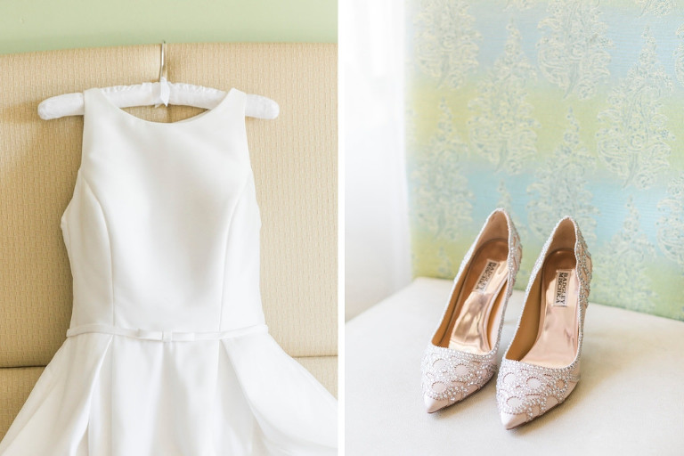 Randy Fenoli White Sleeveless Classic Bridal Wedding Dress and Gold Diamond Badgley Mischka Shoes