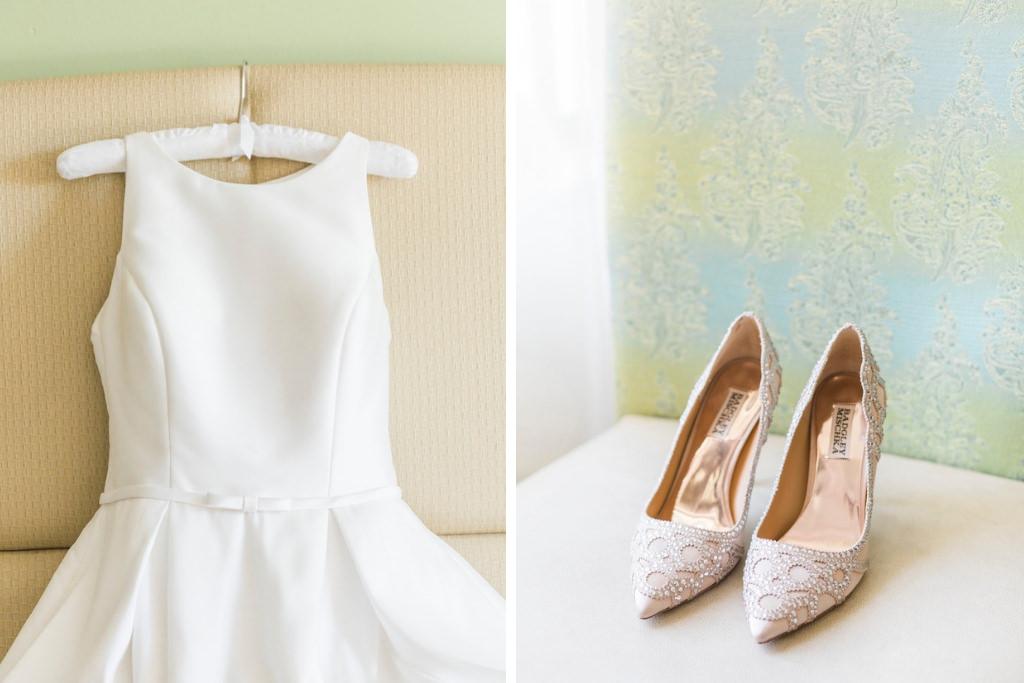 Randy Fenoli White Sleeveless Classic Bridal Wedding Dress and Gold Diamond Badgley Mischka Shoes