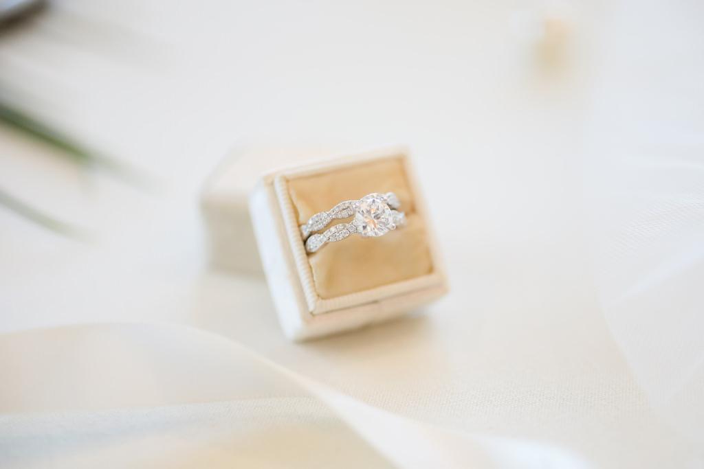 Round Diamond Engagement Ring and Diamond Bride Wedding Ring in Velvet Ring Box | St. Pete Wedding Photographer Lifelong Photography Studios