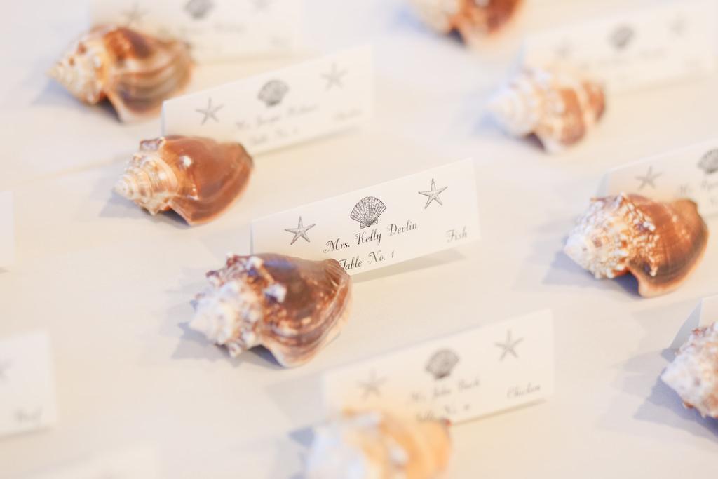 Florida Beach Elegant Inspired Wedding Reception Decor, Conch Seashells and Wedding Placeccarsd | Photographer LifeLong Photography Studios