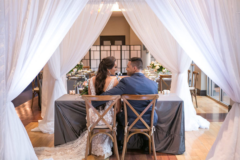 Draped Wedding Reception Sweetheart Table | Tampa Bay Photographer Carrie Wildes Photography | Planner Coastal Coordinating | Linen Rentals Gabro Event Services