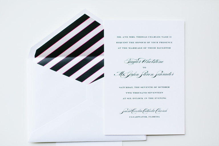 Classic Traditional Kate Spade Inspired Wedding Invitation with Black Stripe Envelope | Tampa Bay Wedding Invitations and Stationary URBANcoast