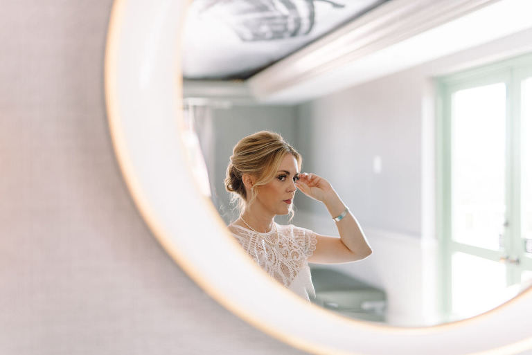 Creative Bridal Wedding Portrait, Bride's Reflection in the Mirror | St. Pete Wedding Photographer Kera Photography | St. Pete Wedding Hair and Makeup Artist Michele Renee the Studio