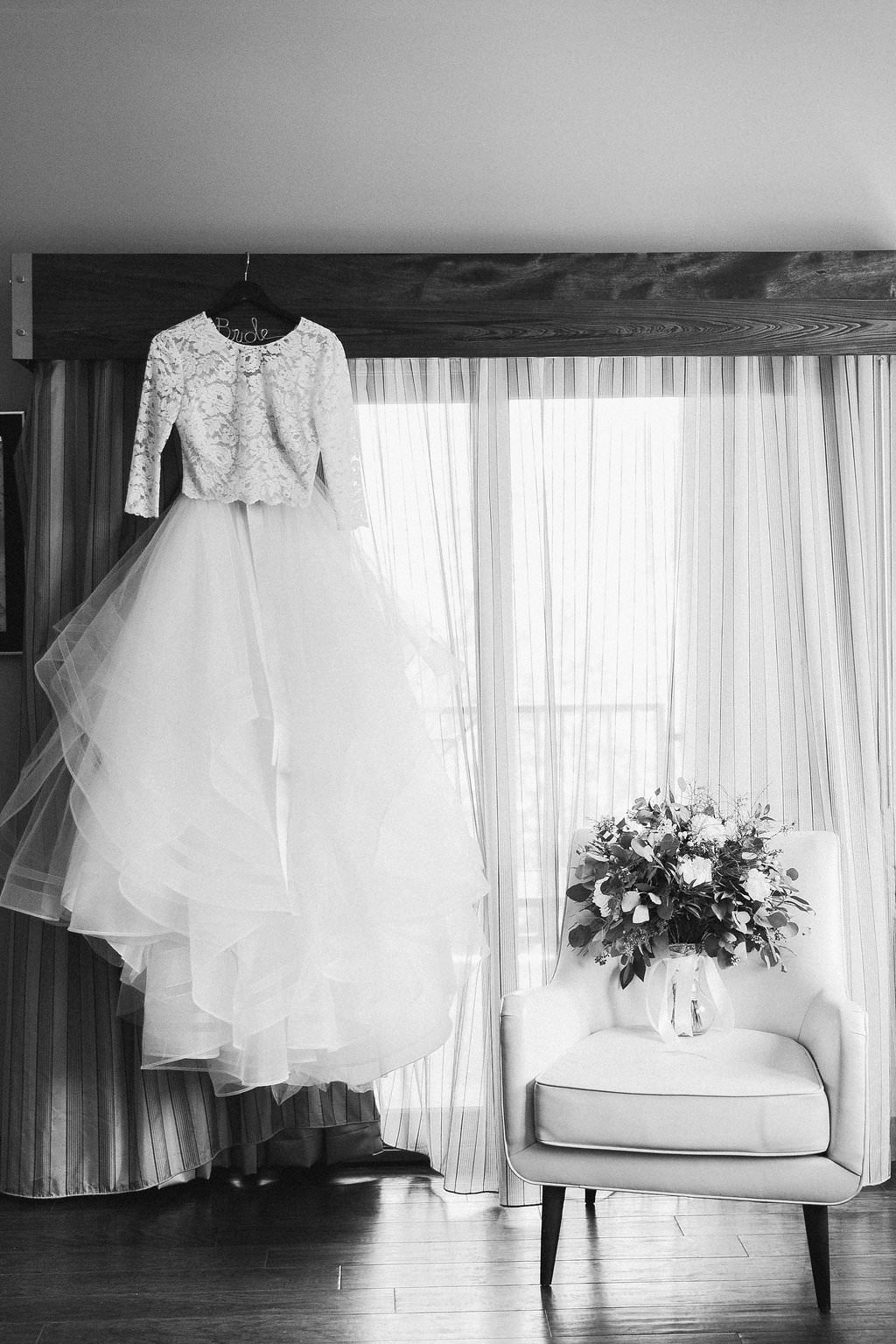 Black and White Long Sleeve Lace Bodice and Tulle Ballgown Skirt and Floral Bouquet