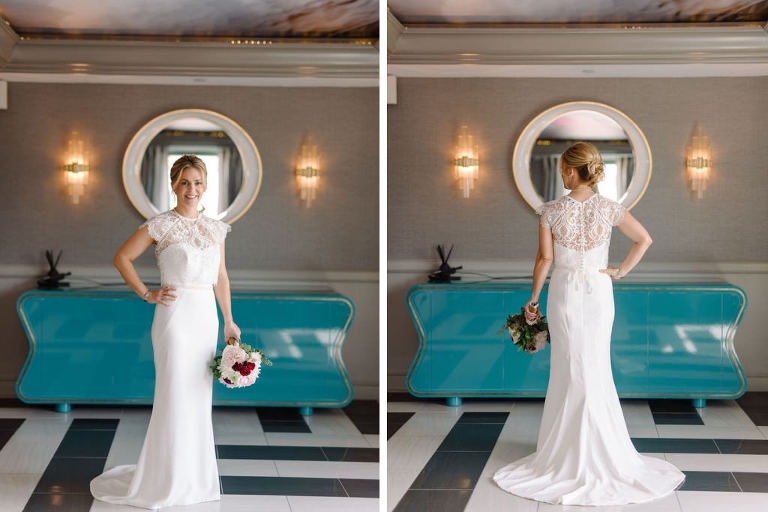 Bridal Wedding Portrait in Cap Sleeve Lace Sheath Wedding Dress   St. Pete Wedding Photographer Kera Photography